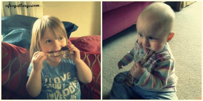 kids eating ribs