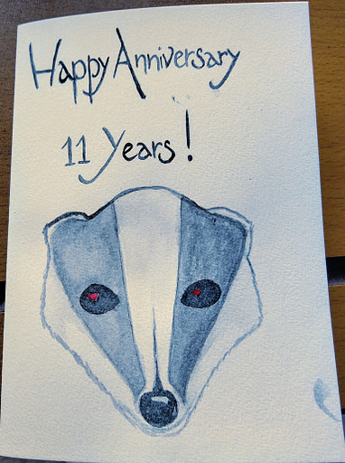 Happy Anniversary 11 Years card with a handpainted watercolour badger head